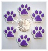 6pc Purple Paw Print Flatback Flat Back Resins 4 Football Hairbow Bow Dog Collar