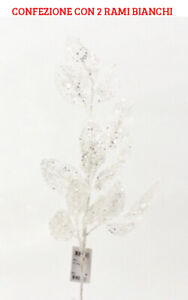 2 Branches Decorative Of Salal Glitter White 72 CM Flowers Christmas
