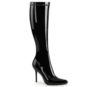"""Pleaser CLASSIQUE-2000 Black Patent 4"""" Heel Women's Night Club Knee High Boot"""
