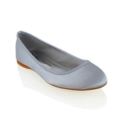 mujer Zapatos De Novia FLOR RASO Chicas Damas Boda Graduación Zapatillas Talla