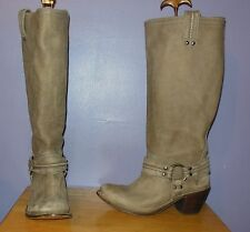Gorgeous Frye Carmen Harness Tall Gray Burnished Leather Boots! Size 9 M