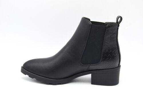 Bottines Low Boots Chelsea Petit Talon Motif Croco Noir Mode Femme SHF20 1548