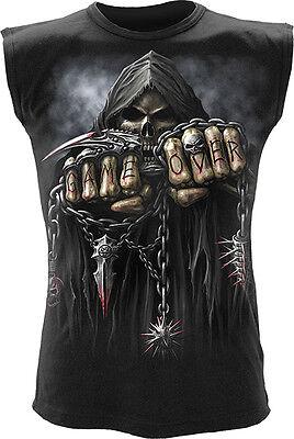 Spiral Direct GAME OVER Sleeveless Tank Top T-Shirt Goth Biker Rock Grim Reaper
