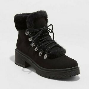 Women's Betsy Faux Fur Hiking Boots - A New Day Black 6.5