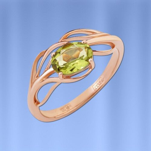 Goldschmuck RING mit Chrysolith Oval russisches Rose Rotgold 585 2.24g Neu
