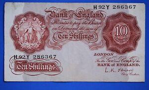 """1955 British Bank of England 10 shilling Banknote O'Brien Prefix """"H92Y"""" [21337]"""