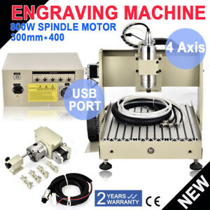 Details about USB 4Axis 800W 3040 CNC Router EngraveMilling Drilling  Engraving Cutter Machine