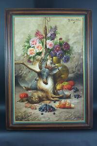 Beau-tableau-ancien-Max-Carlier-Nature-Morte-Fleurs-Fruits-Gibier-19e-Still-life