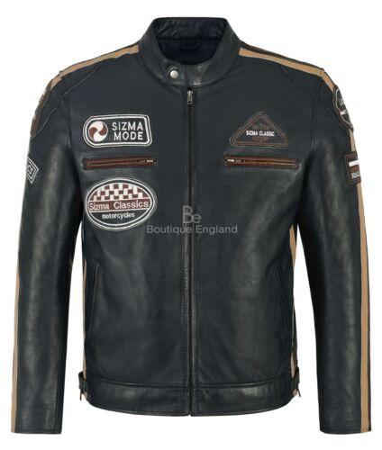 Navy 5011 Lambskin Sizma Jacket Biker Style Men's Motorcycle 100 Real Leather 7xIBAq