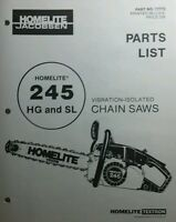 Homelite 245 Hg & Sl Chain Saw Parts Manual 8pg Chainsaw Vibration-isolated