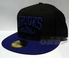 Crooks & Castles Core Logo New Era 59FIFTY Woven Fitted Cap Hat Black Blue Moon