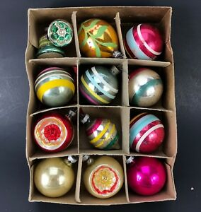 VTG-Shiny-Brite-Indent-Ball-Ornaments-amp-Box-Christmas-Tree-Mix-Lot-Striped