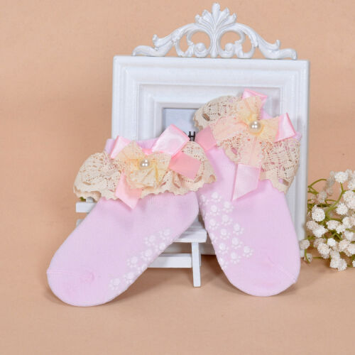 New Girls Lace Frilly Christening Socks in White Pink Dark Blue Grey 1-8 Years