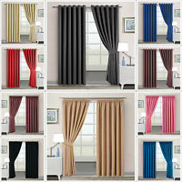 Thermal Blackout Curtains Eyelet / Ring-Top OR Pencil Pleat With FREE Tie Backs