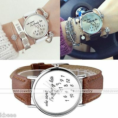 Ladies Women Trendy Watch Who Cares Im Already Late PU Leather Wrist Watch Gifts
