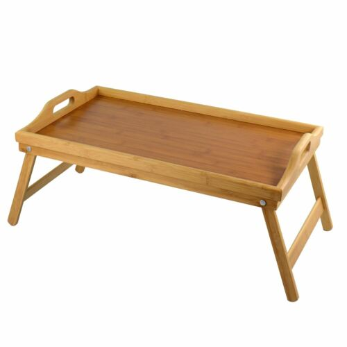 New Bamboo Tray With Folding Legs table Breakfast Over Bed Portable Serving