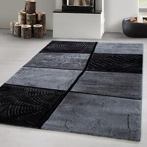 Dettagli su Tappeto di design moderno a pile corte moderne linee a quadri  astratti letto set