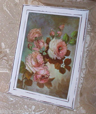 SHABBY VINTAGE WOOD distressed white CHIC SPARKLY ROSE PRINT PARIS COTTAGE DECOR