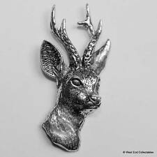 Roe Deer Stag Head Pewter Pin Brooch - British Hand Crafted - Antler Hunting
