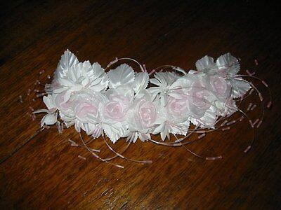 Adattabile Ornamento Per Testa Corona Fiore Matrimonio ~ Fatto ~ Bianco Rosa Glitter #33