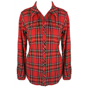 Womens Ladies Red Tartan Plaid Check Long Sleeve Grunge Punk Shirt ...