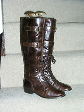 MARKS AND SPENCER BROWN LACE UP KNEE HIGH RIDING BOOTS SIZE 5 / 38 BUCKLE DETAIL