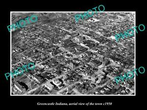 OLD-LARGE-HISTORIC-PHOTO-GREENCASTLE-INDIANA-AERIAL-VIEW-OF-THE-TOWN-c1950