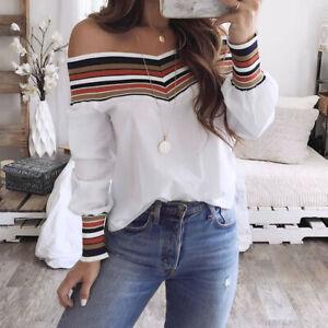 Women-Autumn-Casual-Multicolor-Loose-Long-Sleeve-Off-Shoulder-T-shirt-Top-Blouse