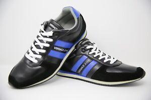 Versace Jeans Noir & Bleu à Rayures Baskets Hommes Taille UK 10 EUR 44