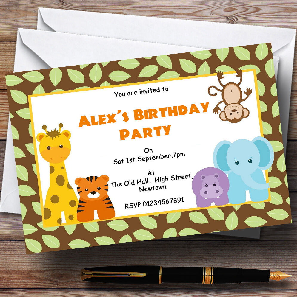 Animal Jungle Theme Personalised Birthday Party Invitations - Th2