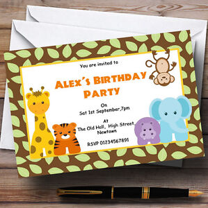 Image Is Loading Animal Jungle Theme Personalised Birthday Party Invitations Th2