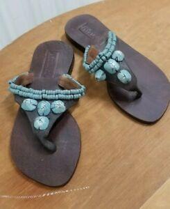 Boho-hippie-Mystique-thong-Sandal-Turquoise-beads-Women-s-Size-7
