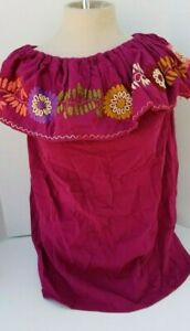 MEXICAN-HAND-EMBROIDERED-OFF-SHOULDER-PEASANT-BLOUSE-NEW-ITEM-Ships-Free