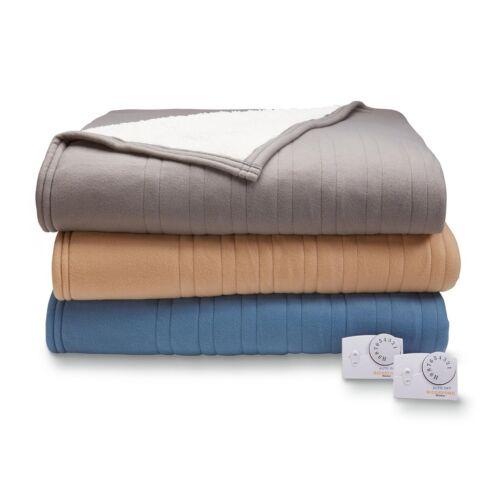 King Queen Full Biddeford Heated Comfort Knit Sherpa Electric Blanket Twin