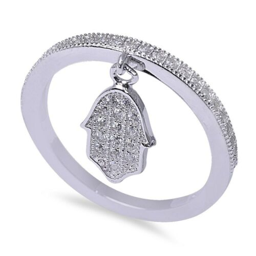 Micro Pave Cz Band with Hand of God .925 Sterling Silver Ring Sizes 4-10