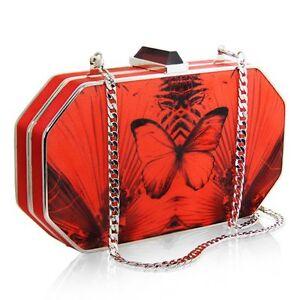 rossa CaratLondon TseNew di Carat farfalla in a rigida forma Borsa Magnan seta D9H2YWEI