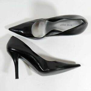 buying now cheapest special sales Details about Nine West Size 8.5 M Black Leather 4 Inch Stiletto High Heels  WNHONOREFF