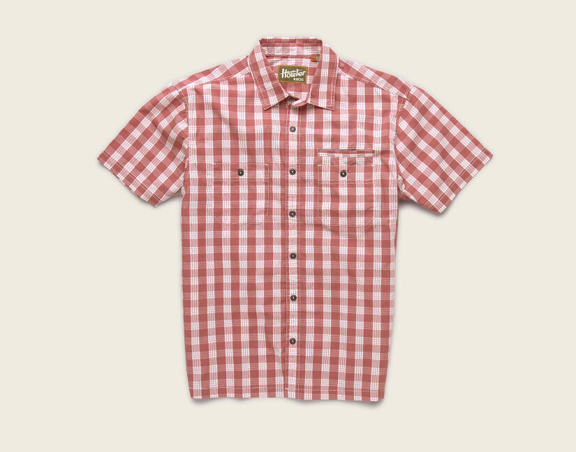 Howler Bredhers ARANSAS Shirt  Palaka Plaid Fiesta Red NEW Closeout Small