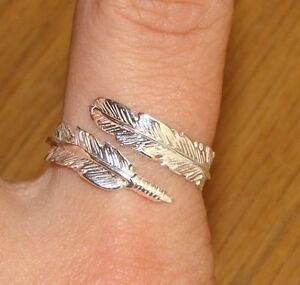 1a6aa52bc145c Details about 925 Sterling Silver Feather Ring Angel Spirit Adjustable M N  O P Q R S FEATHER