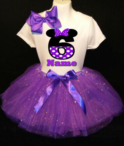 MINNIE MOUSE **With NAME** 6th sixth 6 Birthday purple Tutu dress Fast Shipping