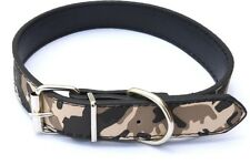 Petsplanet High Quality Dog Leather Collar Military Design - 1 inch Black