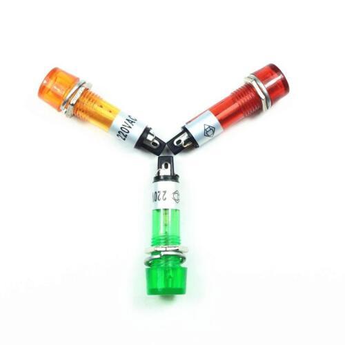 XD10-3 220V AC 10mm Power Signal Indicator Light Mini Pilot Lamp Round New