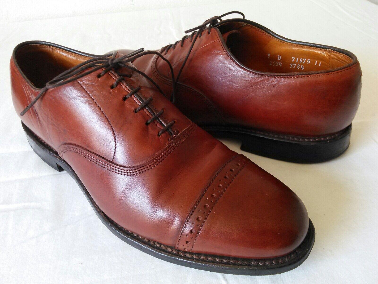 Premium Quality ALLEN EDMONDS Byron Men's Brown all Leather cap-toe oxfords 9 D