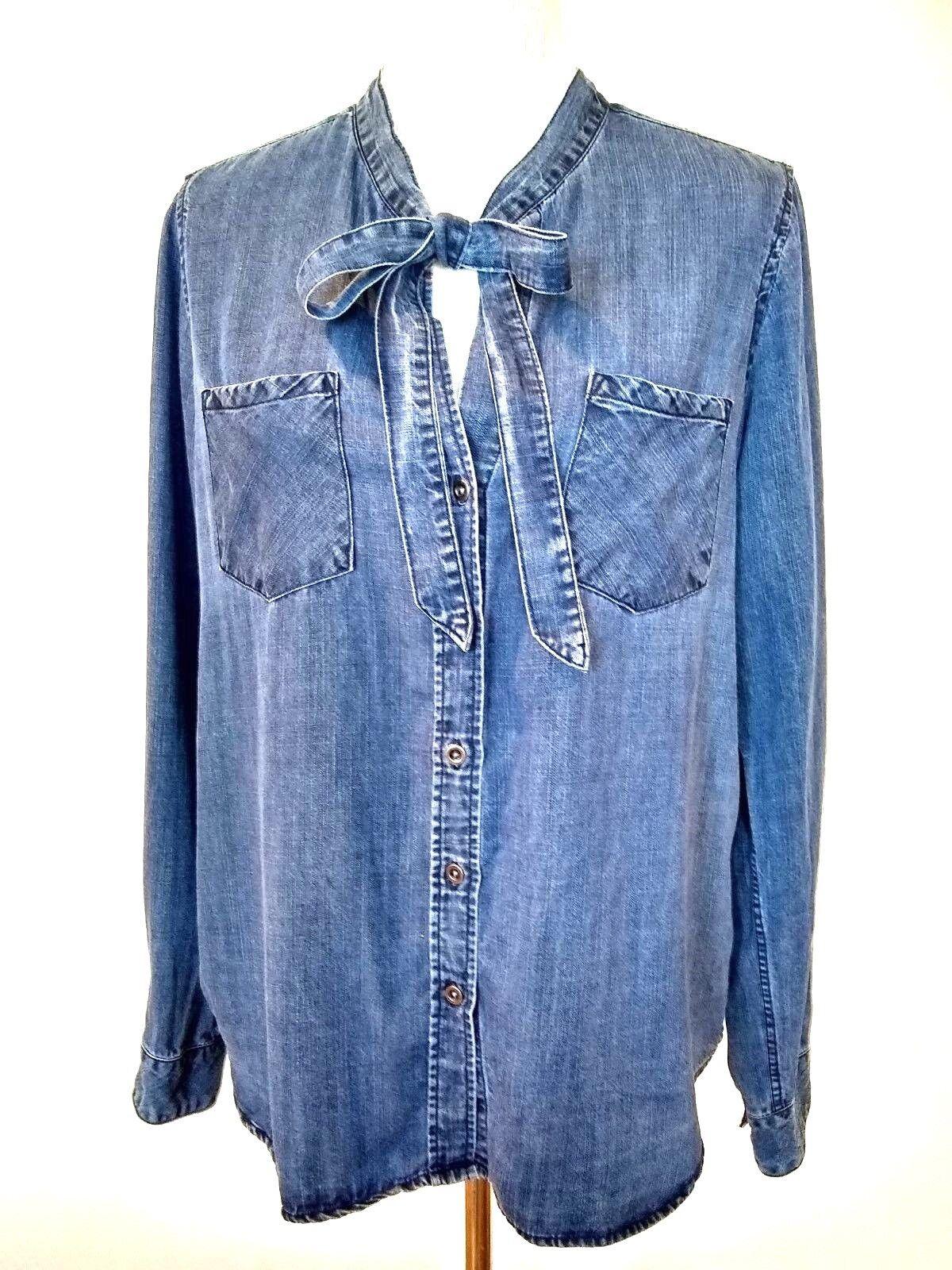 Rails damen Rosalee Dark Vintage Wash  Neck Tie Shirt Top Größe Medium