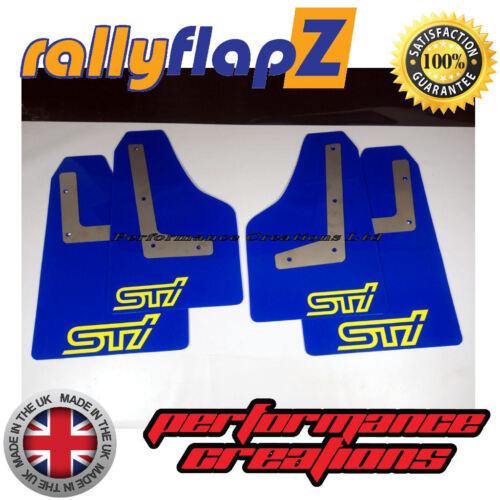 Bavette SUBARU IMPREZA HAYON 08-14 RallyflapZ 4 mm PVC Bleu STi Style Jaune