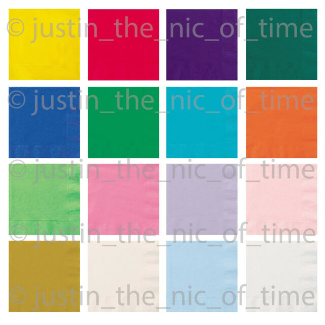Paper NAPKINS 33cm Party Tableware Plain Solid Colours Events Catering 20 to 100