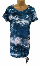Women's BNWT Adidas Originals Night Sky print T shirt dress blue, white black 14