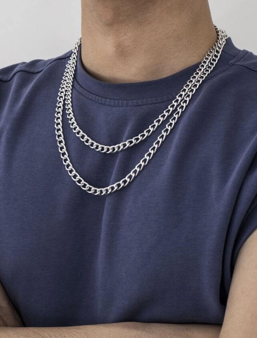2 Breite Panzerketten Hiphop Rapperketten Silber Chain Necklace Silver