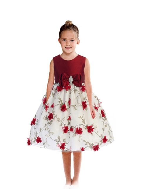Posh Red/White Floral Embroidered Flower Girl Holiday Dress, Crayon Kids USA
