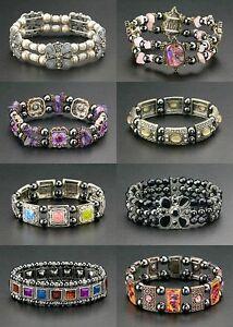 Bulk-Wholesale-Lot-24-Magnetic-Bracelets-Hematite-Healing-Beads-Stretch-Therapy